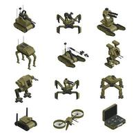fighting robots isometric icons vector