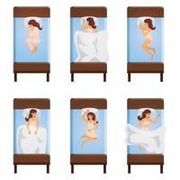 mujer durmiendo poses vector