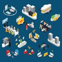 Cloud office icometric icons vector