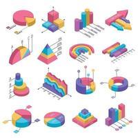 conjunto de infografías de diagramas isométricos vector