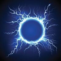 círculo de relámpagos eléctrico realista vector