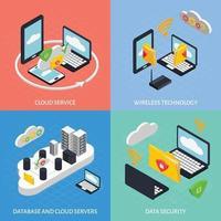 Cloud office icometric 2x2 vector