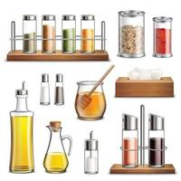 seasoning spice jars kitchen herbs cookery realistic set vector