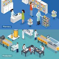 Pharmaceutical production isometric banners vector