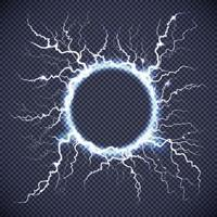 círculo de relámpagos eléctrico realista transparente vector