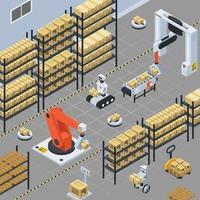 Fondo isométrico de logística y entrega automática.