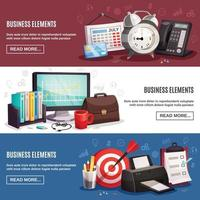 business office horizontal banners vector