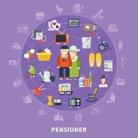 Pensioner vector illustration
