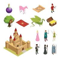 fairy tale isometric icons vector
