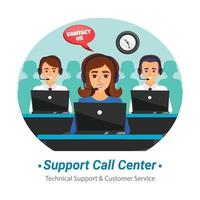 Ilustración de centro de llamadas de soporte vector