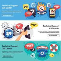 Soporte de banners horizontales de call center. vector