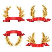 spikelet wreaths with ribbons realistic