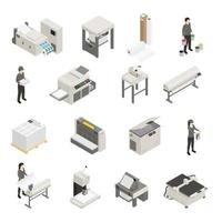 printing house polygraphy isometric set vector