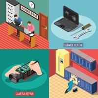Service centre isometric 2x2 vector