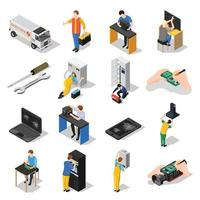 Service centre isometric icons vector