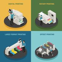 printing house polygraphy isometric 2x2 vector