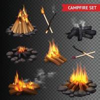 realistic campfire set vector