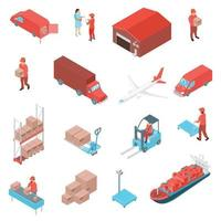 isometric logistic delivery set vector
