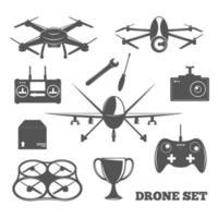 drone emblem elements vector
