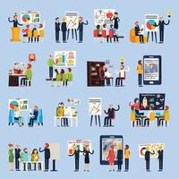 business coaching orthogonal flat people vector