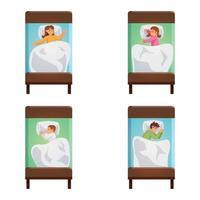 conjunto de poses para dormir vector