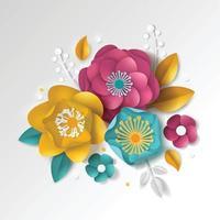 3d realistic color paper floral background vector