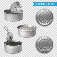 Conjunto de maquetas de latas 3d vector