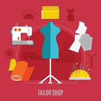 Sewing flat composition vector