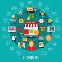 ilustración plana de comercio electrónico vector