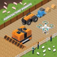 agricultura robot tecnología moderna composición isométrica vector