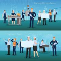 composiciones de trabajadores de fábrica plana vector