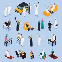 arab muslims saudi modern isometric people vector