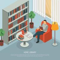 isometric book reading illustration vector