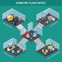 Cloud office icometric composition vector