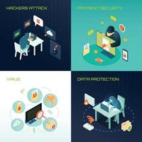 isometric hacker design concept vector