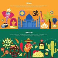 conjunto de banners de países de viaje vector