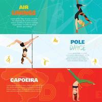 tipos modernos bailan pancartas horizontales vector