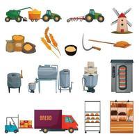 flour bread production set vector