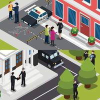 special agent spy isometric banners vector
