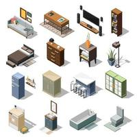 Isometric interior icons vector