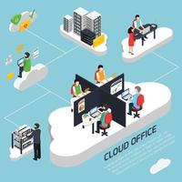 Cloud office icometric background vector