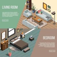 Isometric interior banners vector