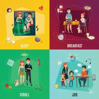 daily people couple concept vector