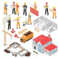 isometric builders engineer architect set vector