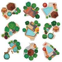 landscape design top view compositions set vector