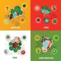 landscape design top view compositions concept vector