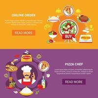 conjunto de banner de pizza