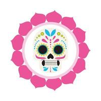 traditional mexican skull head with petals frame vector