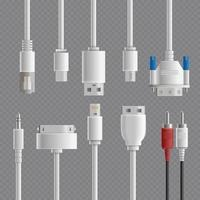 realistic cable connectors types vector