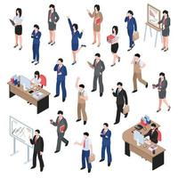 isometric business men women character set vector
